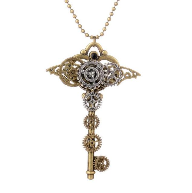 Brilliant design nice shape key with gears vintage steampunk brilliant design nice shape key with gears vintage steampunk necklace fashion pendant jewelry mozeypictures