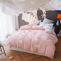 4 шт. принцесса хлопка постельных принадлежностей наволочки покрывало пододеяльник розовый комплект постельных принадлежностей детей пос...