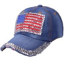 36c3810f48e Women American Flag Rhinestone Jeans Denim Baseball Adjustable Bling Hat Cap   N04(China)