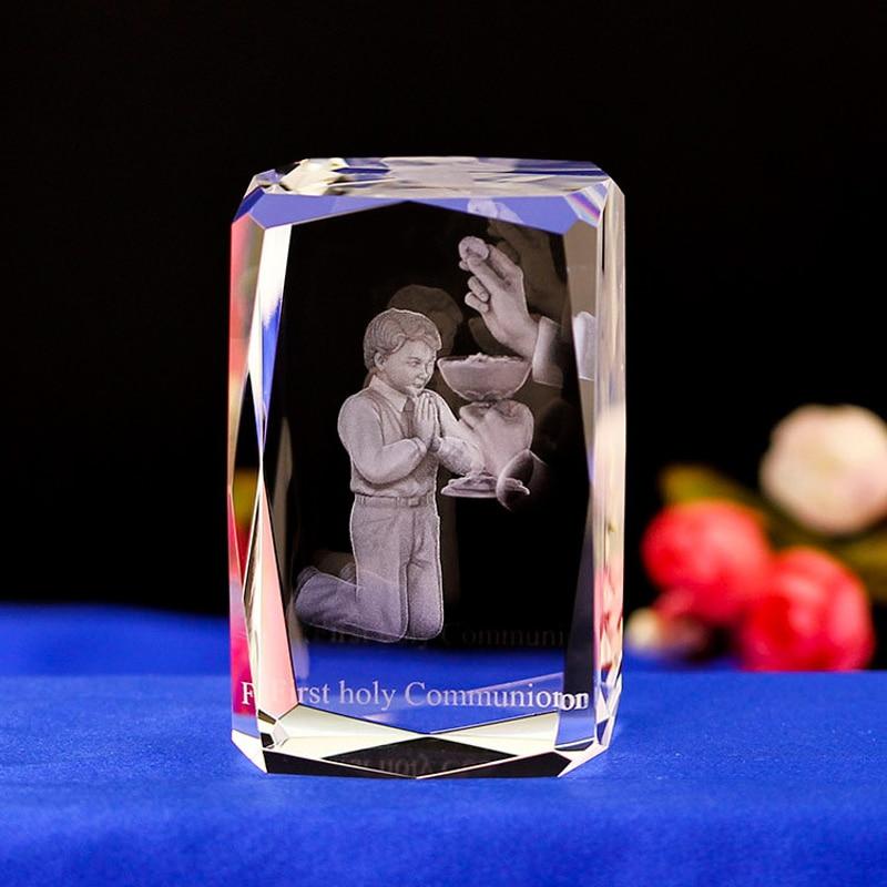 Персонализированные пользовательские крещение мальчик выгравированы кристалл светодиодное освещение Красочный Светодиодный свет 3D ночн...