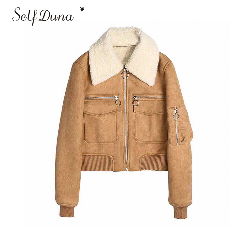Self Duna 2019 Autumn Winter Suede Baseball Jacket Faux Lamps wool Vintage Suede Lamb Short Women Bomber Jacket Basic Jackets