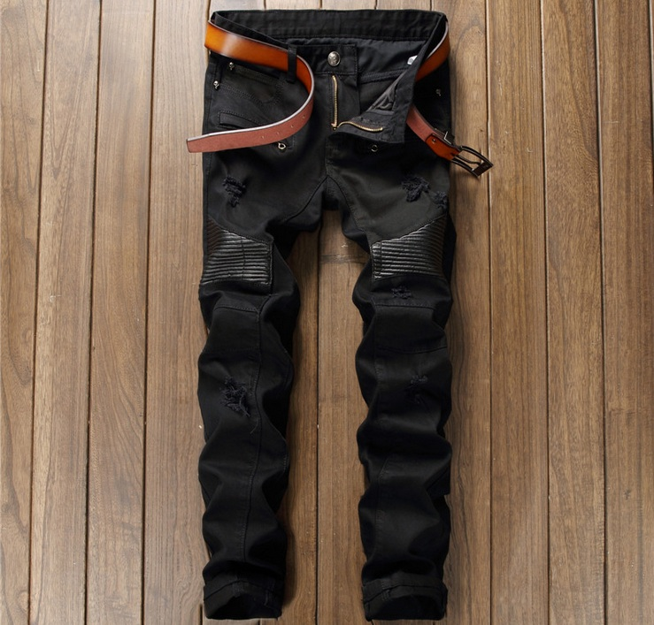 European American Style men jeans luxury brand Mens denim trousers stripes Slim Straight zipper hole black jeans pants for men
