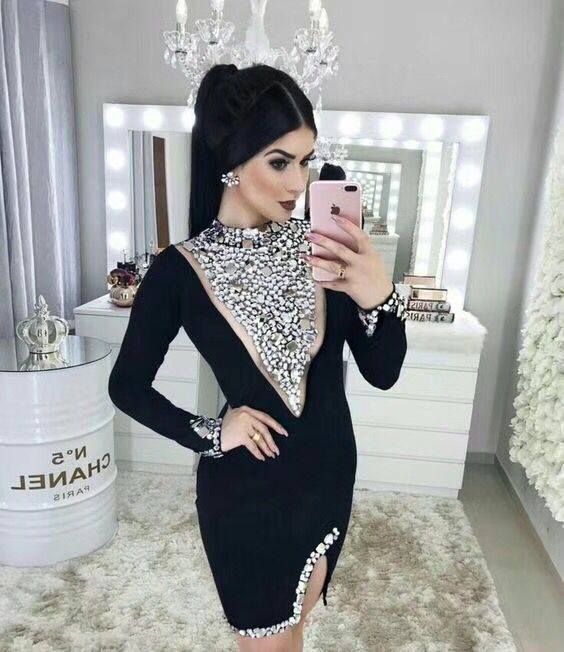 New Autumn High Quality Ladies HL Bandage Dress Long Sleeve Hand make Crystal Bodycon Mini Dress Red Carpet Dress