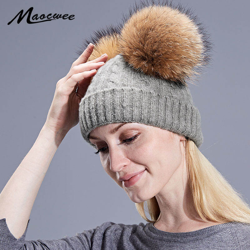 66945f284fc Detail Feedback Questions about Girl Boy Knitted Beanies Cap With Real  Raccoon Fur Pompom Autumn Winter Children Women Men Adult Unisex Warm Wool  Skullies ...