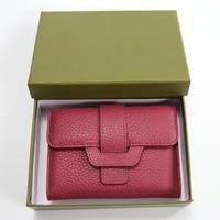 2017 New Luxury Soft Genuine Leather Women Hasp Wallets Tri Fold Clutch Purse Female Credit Card
