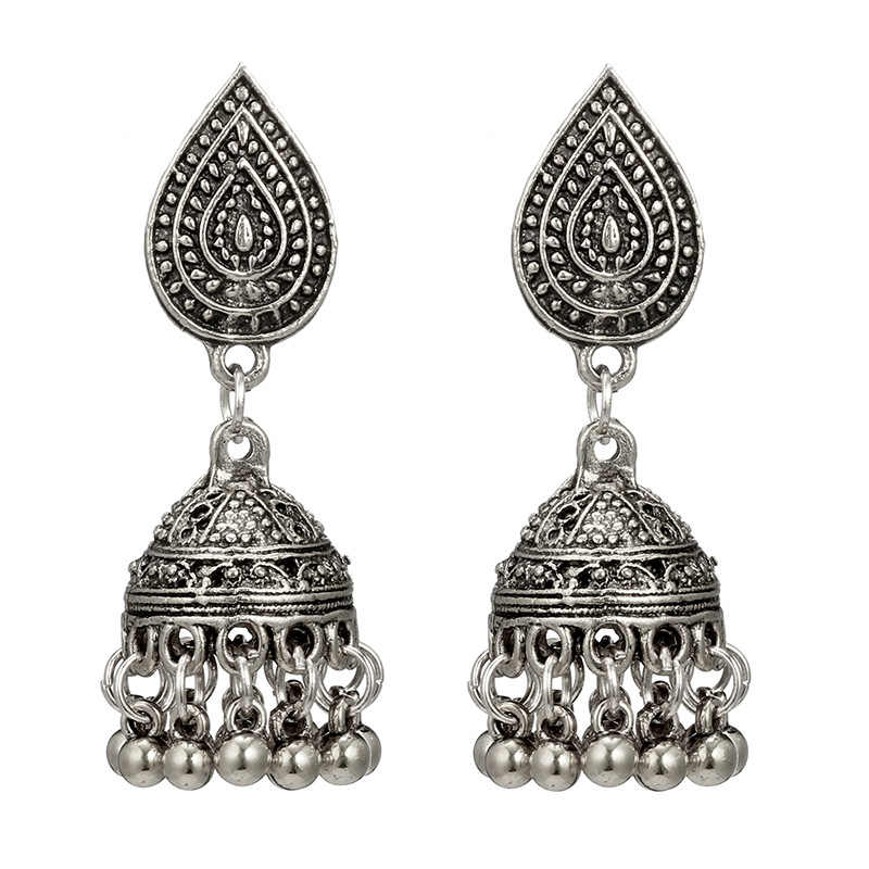 ... Indian Jhumka Gypsy Jewelry Sliver Color Boho Vintage Ethnic Womens Earrings  Hollow Water Drop Earrings For ... 4c988bc9a36d