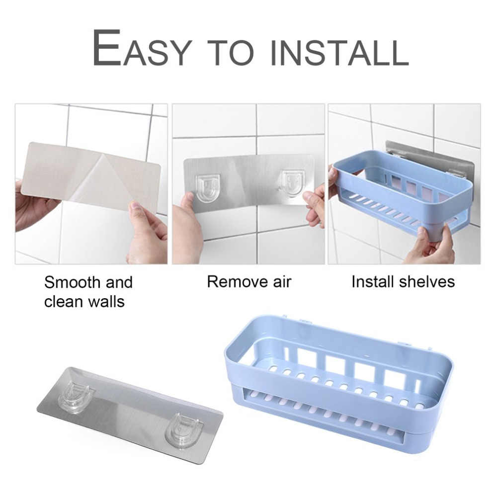 ICOCO Shower Shelf Bathroom Organizer Suction Hooks Sucker Holder Toothbrush Makeup Bathroom Accessories Storage Holder Rack