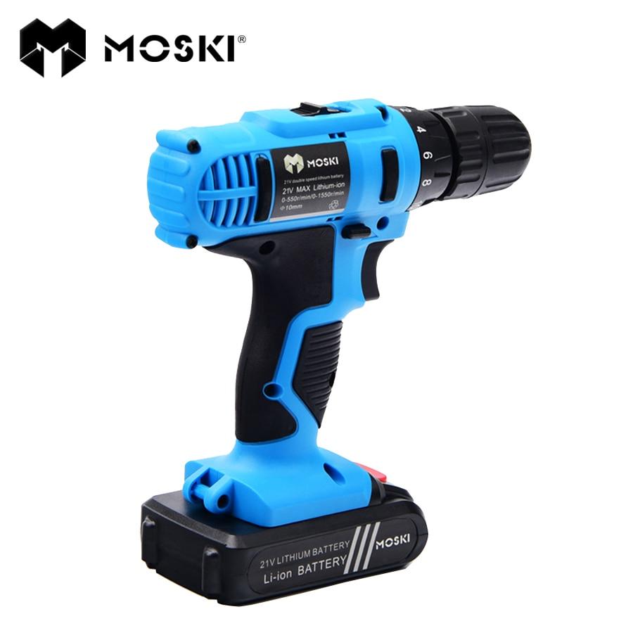 MOSKI, 21V DC alimentation Mobile batterie au Lithium perceuse sans fil/visseuse perceuse électrique outils perceuse électrique