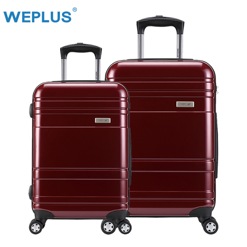 "2pcs/set 20 inch+24"" luggage Suitcases pc Suitcase With Wheels trolley case red Hardside Rolling Case On Wheels  TAS LOCK  Women"