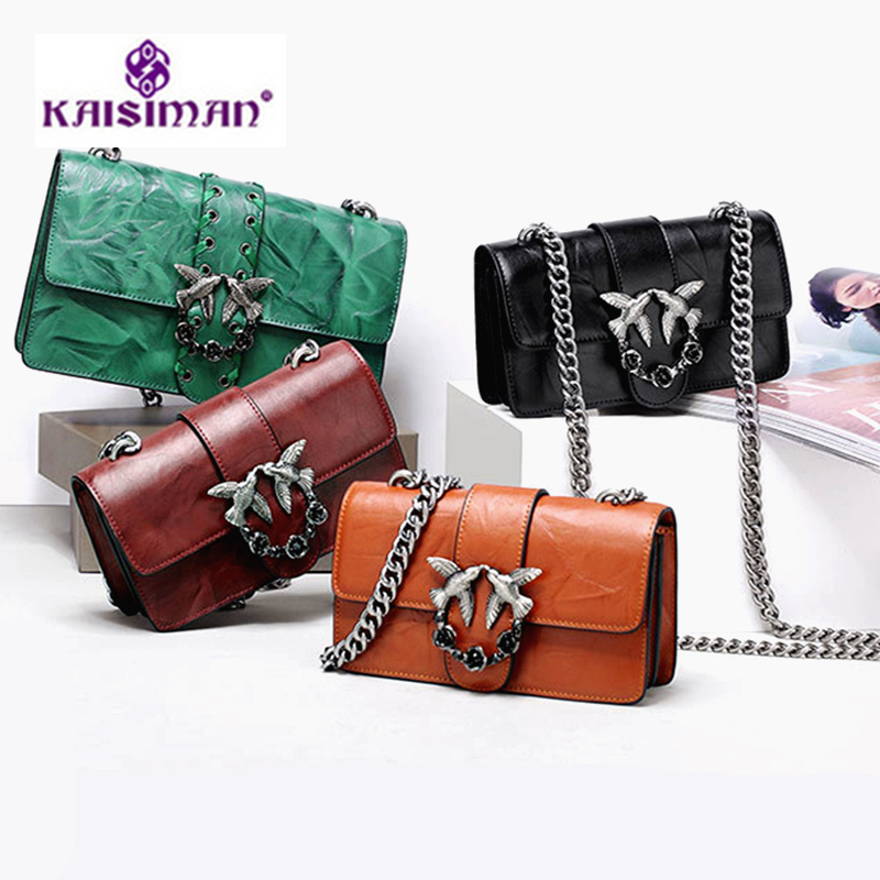 2018 Newest Fashion Swallow Messenger Bags Famous Brand Bags Women Handbag 100% Genuine Leather Sac A Main Bolsas Rivets Chains 11cls bolsas fashion 100