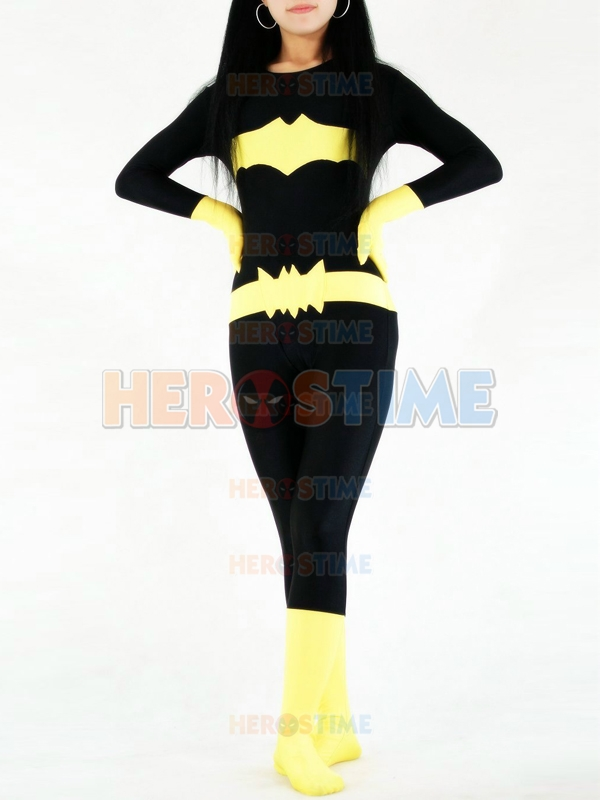 Black & Yellow Batman Costume Spandex Female Superhero Costume Fullbody Tight Zentai Suit