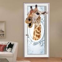 DIY Door Stickers PVC 3D Wall Painting Cartoon Giraffe Creative Poster Door Mural Wallpaper Boys And