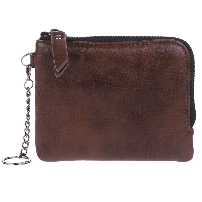 Men Genuine  Leather Mini Coin Change Purse Wallet Keyring Zipper Small Soft Bag Women  Fashion 2018