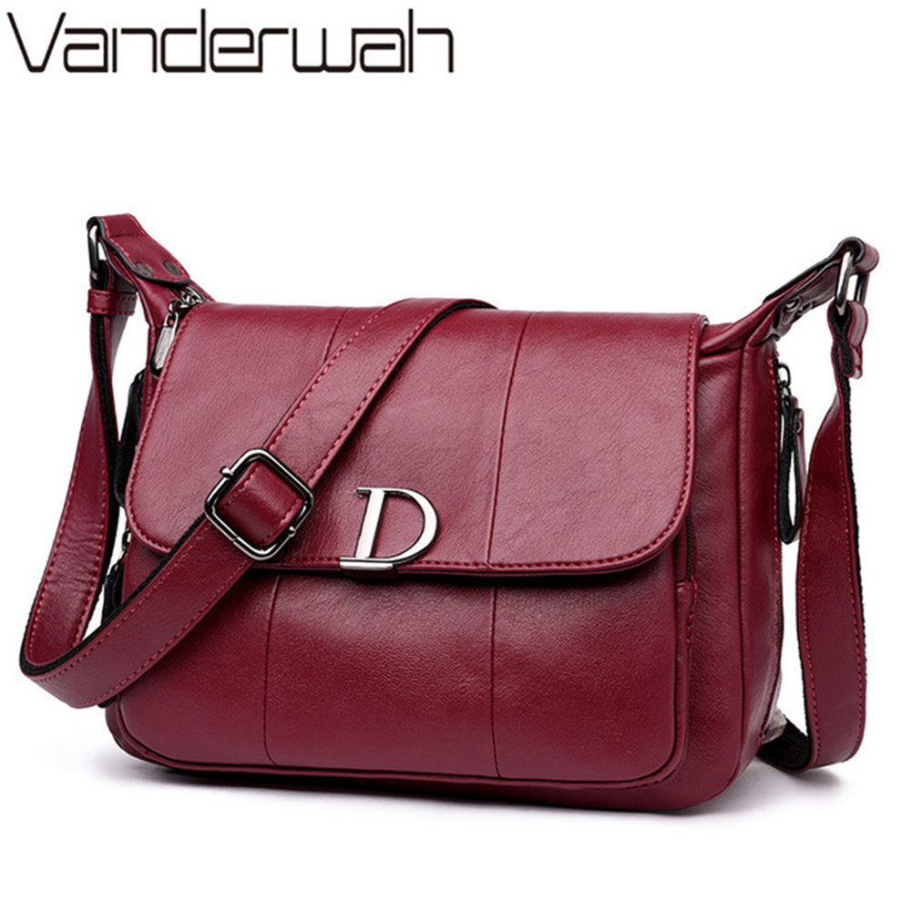 HOT D Letter women messenger bags handbags women famous brands Female Soft Leather handbag bags for women crossbody shoulder bag women s crossbody bags for women handbags casual soft famous brands shoulder bag ladies blue genuine leather messenger bag b198