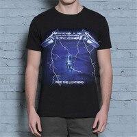 New Arrival Mens T Shirt Asian Size M 4XL T Shirt Lightning Metallica Metal Rock Band