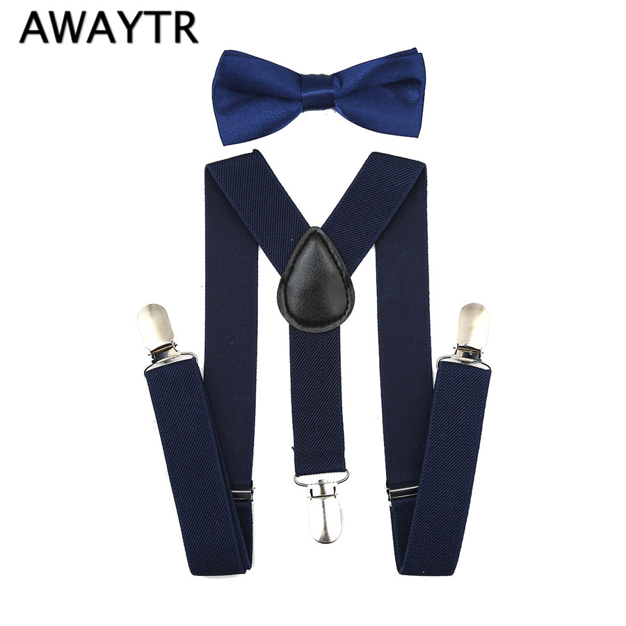 Children Suspender And Bowtie Set Kids Pants Adjustable Suspenders Bow Tie Set Elastic Y-back Braces Tirantes Polka Dot 22 Style Men's Accessories Men's Suspenders