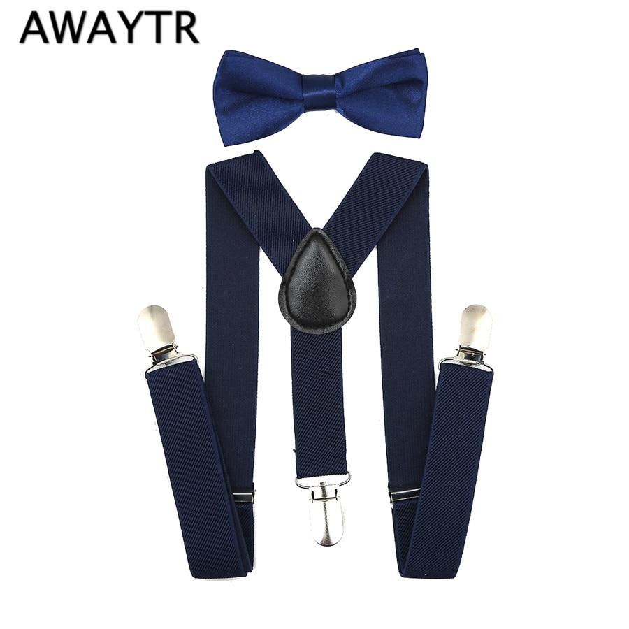 2 Pcs (Suspender + Bow Tie) Fashion Navy Bowtie Set Boys Y-Back Adjustable Elastic Kids Suspenders Bow Tie Set Wedding Braces