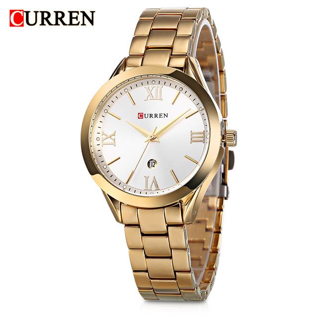 0b16e6adfe9 Curren 9007 Calendário de Aço Inoxidável Das Mulheres Relógios Top Marca de  Luxo Relógio de Quartzo