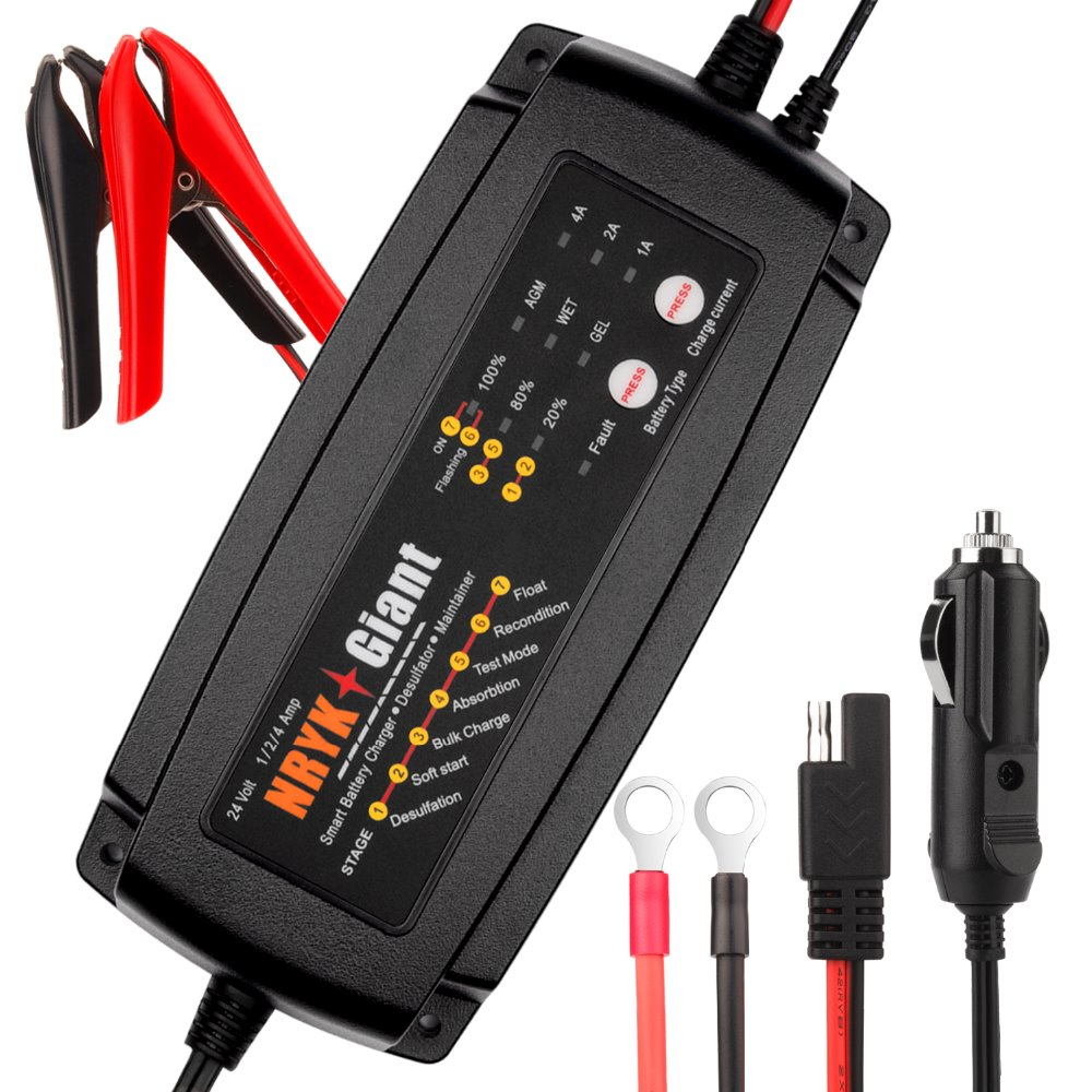 Ultrasafe 24V 1A 2A 4A 3 IN 1 7 Stage Smart Car Battery Charger Maintainer Desulfator
