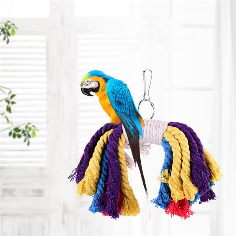 Home & Garden Soft Parrot Climbing Toys Cotton Chewing Rope Swing Bird Bite Toys Funny Bird Playing Rope Harness Cage Accessories Bird Supplies