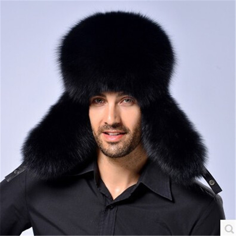 Russian Men's Real Fox Fur Hats Package Winter Warm Fox Fur Hat Men genuine Sheepskin Top Hat Crown Fox Middle-aged Lei Feng Cap new autumn winter warm children fur hat women parent child real raccoon hat with two tails mongolia fur hat cute round hat cap