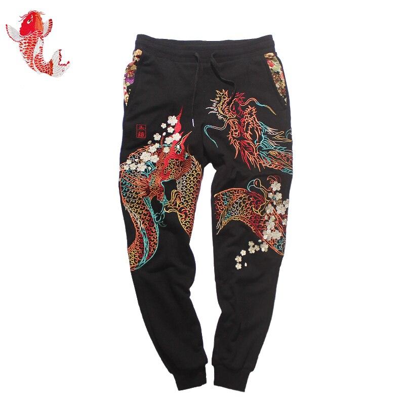Automne Sportpants Brodé Hommes Noir Printemps L'origine Yokosuka Coton Perdre Pantalon À Chinois Femmes De Pour En fBdwq76d