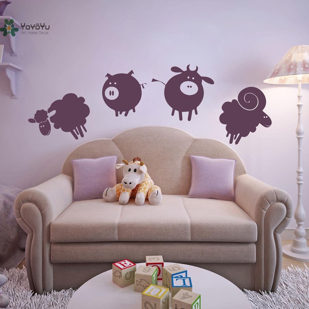 YOYOYU Vinyl Wall Decal Ranch Farm Animal Pigs Sheep Cattle Cute Kids Room Art Home Decoration wall Stickers FD554