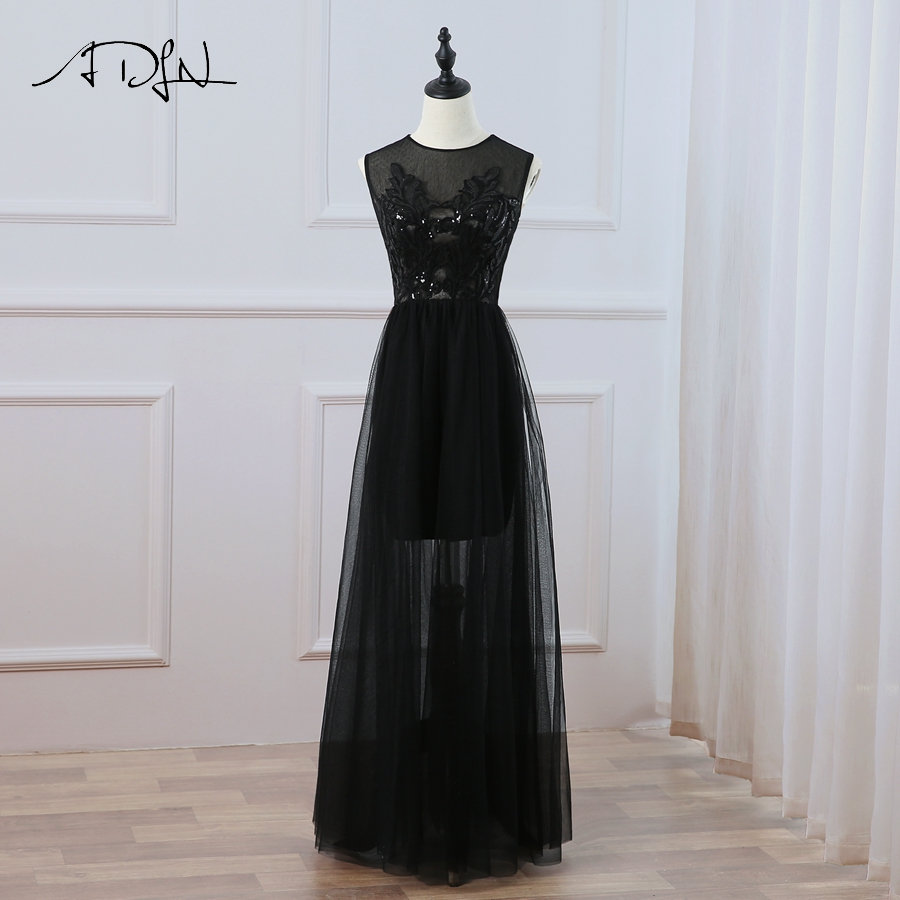 ADLN Black   Prom     Dresses   Sleeveless O-neck Floor Length Tulle Sexy Evening   Dresses   New Arrival Custom   Prom   Vestidos de Fiesta