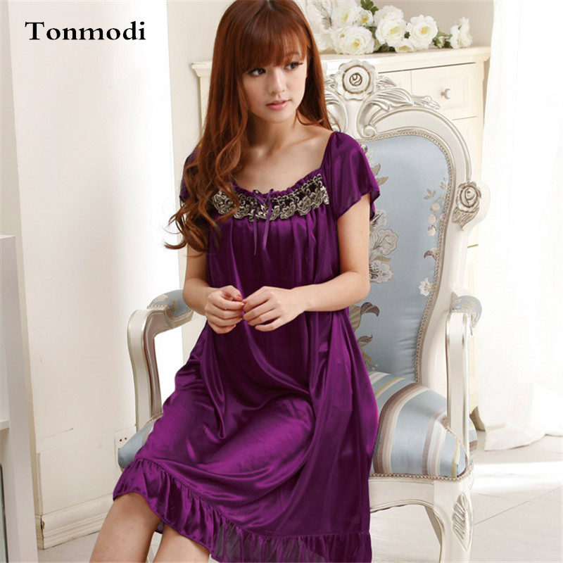 Enteros Long Lace Nightgown Women Summer Purple Embroidery Women's Sleep Lounge Nightgowns Sleepshirts