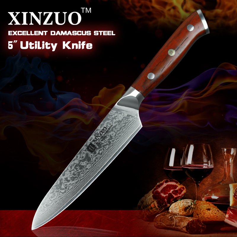 2018 XINZUO 5inch utiliy knives VG10 Damascus steel kitchen knife with rosewood handle handmade cleaver fruit/peeling cook knife