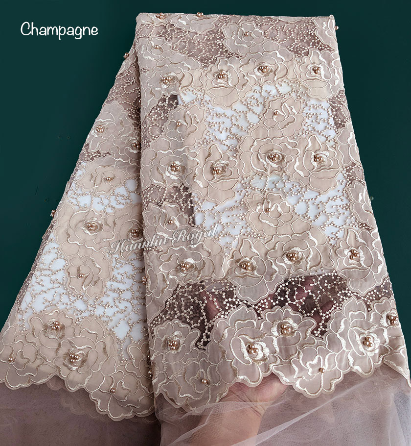 Dotted embroidery Champagne beaded french lace fabric African tulle lace Sewing Nigerian garment cloth 2019 high quality 5 yardsDotted embroidery Champagne beaded french lace fabric African tulle lace Sewing Nigerian garment cloth 2019 high quality 5 yards