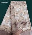 Gestippelde borduren Champagne kralen franse kant stof Afrikaanse tule kant Naaien Nigeriaanse garment doek 2019 hoge kwaliteit 5 yards