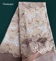 Punteggiato ricamo Champagne in rilievo tessuto francese del merletto Africano tulle del merletto Cucito Nigeriano indumento panno 2019 di alta qualità 5 metri