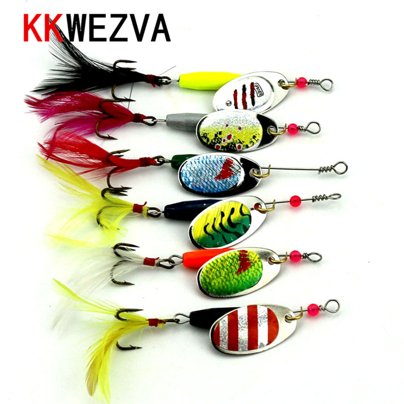 6 PCS Compound Metal Spinner Fiske Bait Spoon 7.7g Fiske lock Silver Guld Färg Retail Box Catfish Bass Lures 360 Rotation