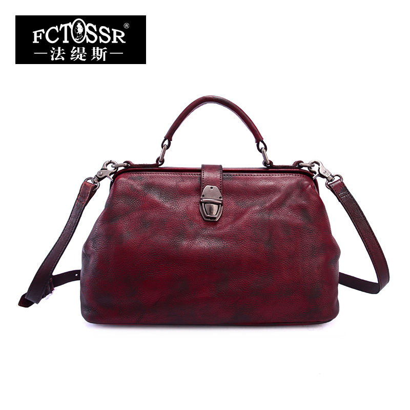 2019 Women Shell Handbag Retro Handmade Genuine Leather Top Handle Bag Lady Messenger Bag Doctor Shoulder