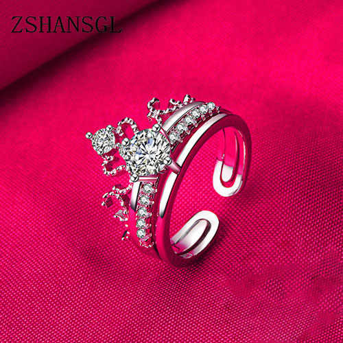 2018 Princess Queen Crown ring AAA Zircon Cz 925 Sterling Silver Filled wedding Band ring set for women Girl Nice Jewelry gift