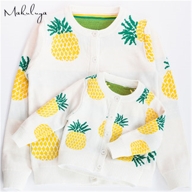 Makuluya Family Matching Outfits Pineapple Ananas Jacquard Knitted Cardigan Mother Daughter Children's Clothing Sweaters Tops QE