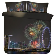 6 Parts Per Set Bed Sheet Set Fireworks in Beautiful Singapore Night Sky 3d Bedding Set