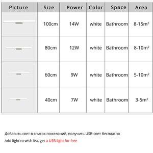 Image 5 - Led ayna hafif paslanmaz çelik AC85 265V Modern duvar lambası banyo ışıkları 40cm 60cm 80cm 100cm 120cm duvar aplikleri aplikler