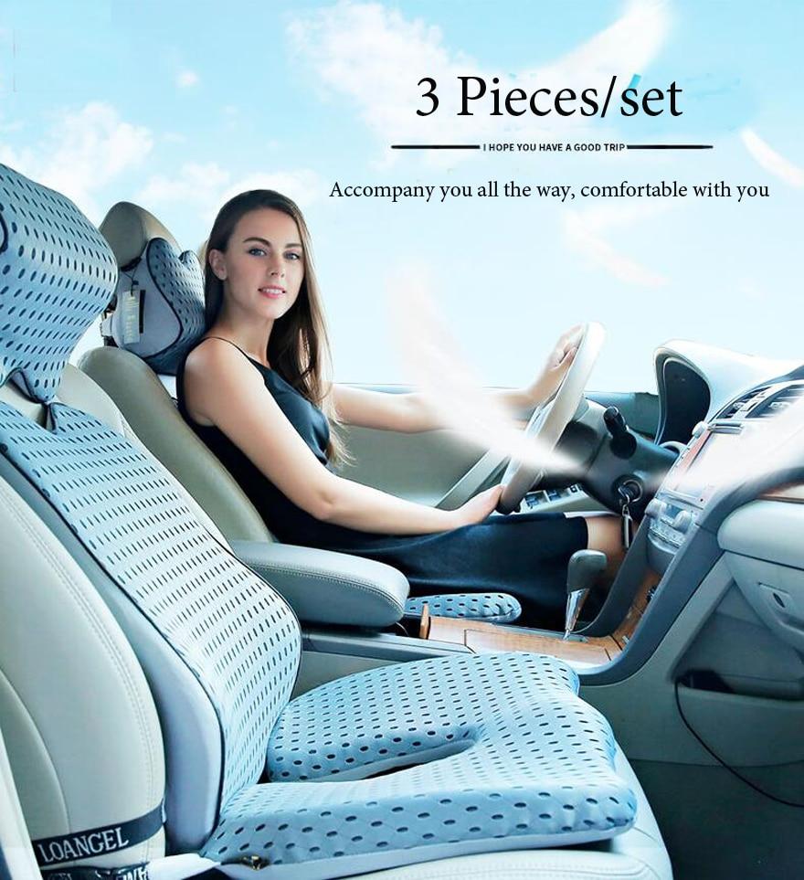HTB1nlezeuuSBuNjSsziq6zq8pXa4 High Quality Car Cushion Set Memory Foam Car Lumbar Support Set Back Lumbar Neck Pillow Seat Cushion for Driving Office Home