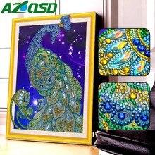 AZQSD Diamond Embroidery Animal Drill Special Shape Kits Mosaic Rhinestone Picture Painting Peacock Cross Stitch