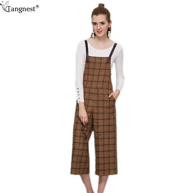 Tangnest perna larga macacão xadrez 2017 marca de moda projetado calças retas primavera das mulheres estilo preppy straped overallswkb066