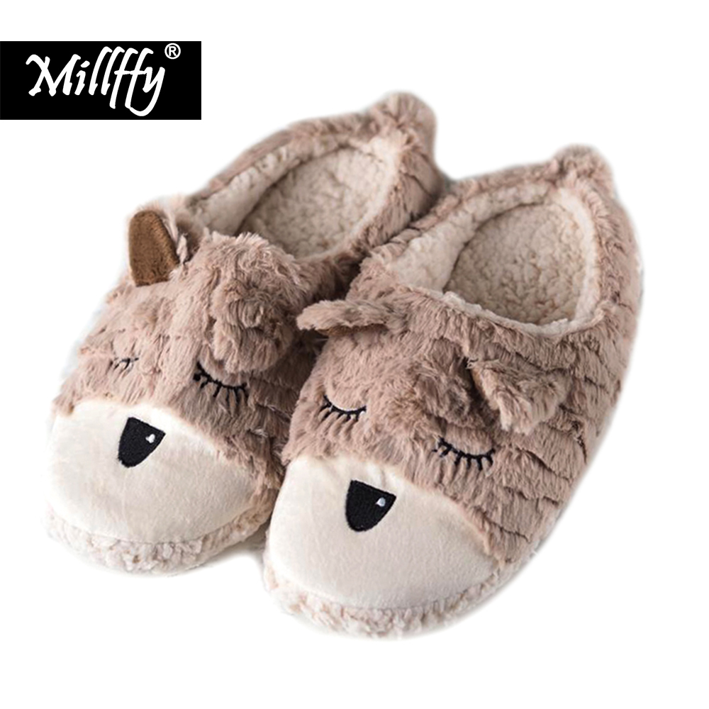 Millffy Autumn and winter indoor home drag cute cartoon plush puppies indoor cotton slippers female floor slippers millffy japanese summer ladies flats cotton bow home slippers indoor slippers