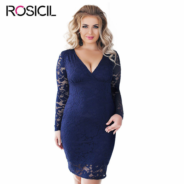 3ece938e8b Nowe Eleganckie Koronkowe Sukienki Plus Size Kobiety Urząd Dorywcza 4XL  Duży rozmiar Długi Bodycon Sukienka Czarny