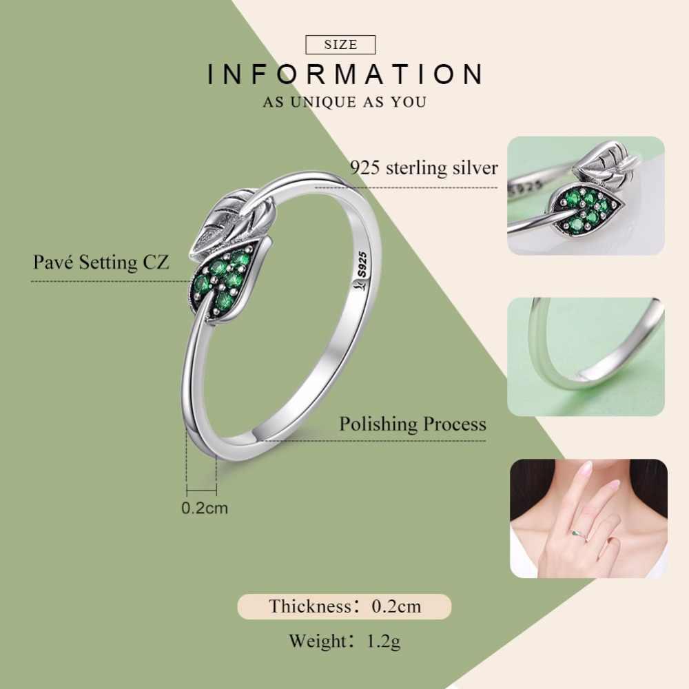 BAMOER 100% 925 Sterling Silver Danza Foglie Foglia Verde Abbagliante CZ Anelli di Barretta per le Donne di Fidanzamento Gioielli Anel Regalo SCR093