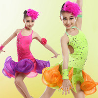 Children S Latin Show Children S Clothing Latin Dance Contest Costumes Latin Skirts Children Dance Skirt