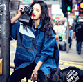 2016 Women European Style New Autumn Denim Coat Spell Color Windbreaker Fashion Coat Hipster Women Clothing