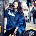 2016 mujeres estilo europeo nuevo otoño abrigo denim hechizo color rompevientos capa de la manera mujer inconformista clothing