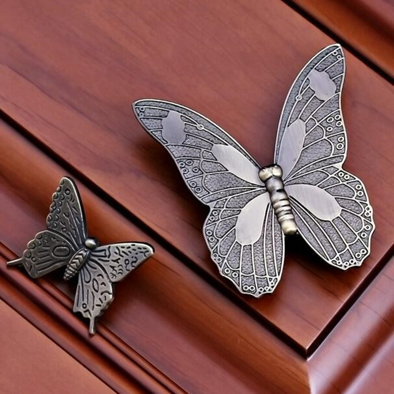 Antique European-style Butterfly Design Door Handle Drawer Pull Door Knob For Shoe Cabinet Cupboard  Hardware Accessory