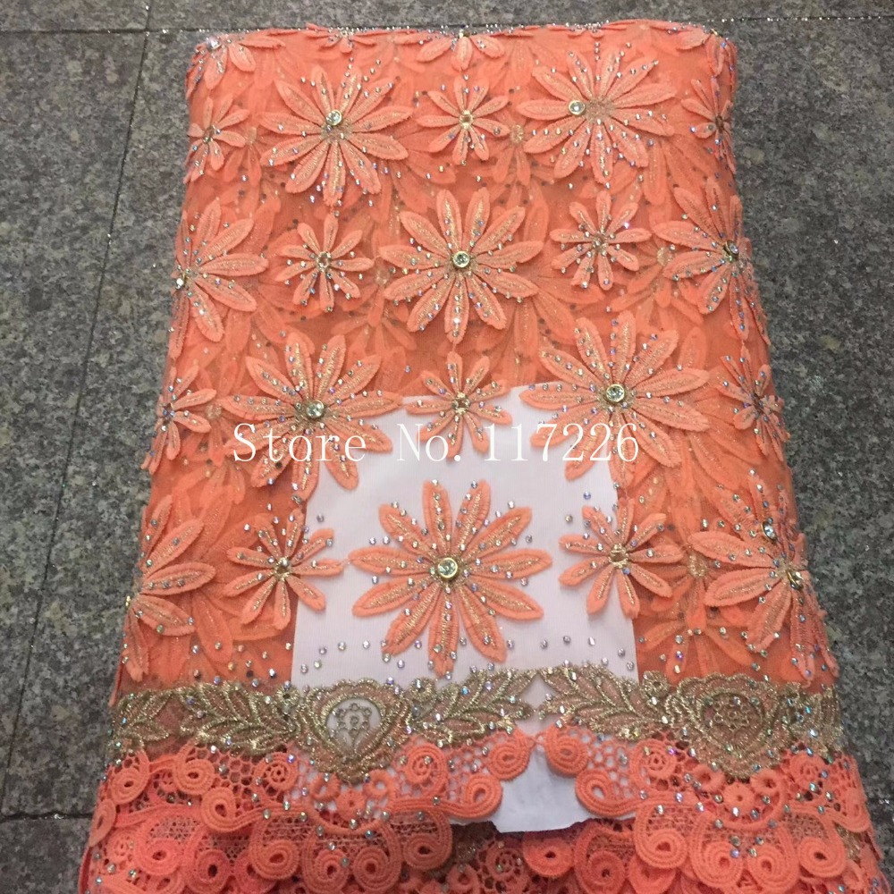 Best Selling Swiss voile lace African Lace Fabric orange Nigerian French Fabric 2017 High Quality 3d flower fabric JRB 22305